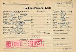 Haftlings-Personal-Karte