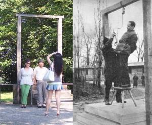Japończycy fotografują się obok szubienicy, na której został stracony Rudolf Höss